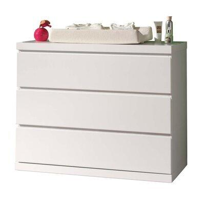 Commode 3 tiroirs 90x57x91 cm laqué blanc - CROFT