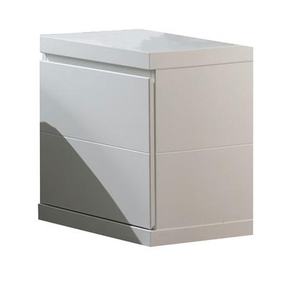 Chevet 2 tiroirs 44x40x48 cm laqué blanc - CROFT