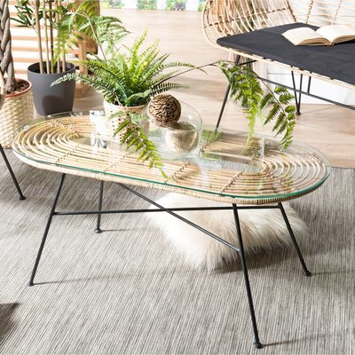 Table basse en verre et rotin 103x46x46 cm - CAMY
