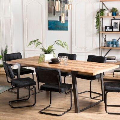 Table à manger 220x100x78 cm en sapin et métal - KARLY