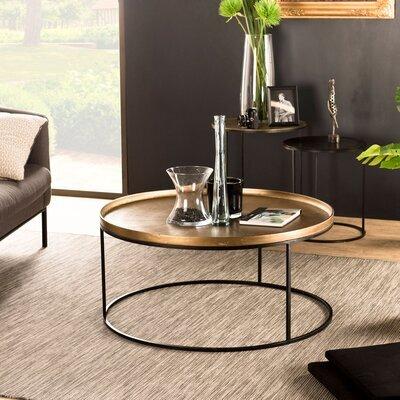 Table basse ronde 88x41 cm en aluminium doré - JOSY