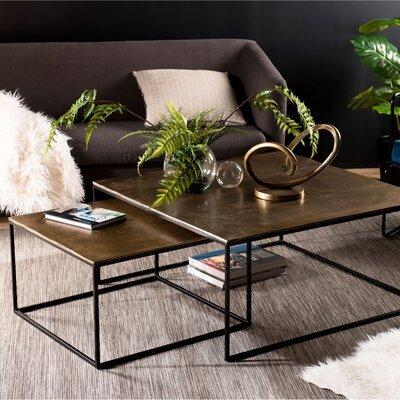 Lot de 2 tables basses carrées 89 et 60 cm en aluminium doré - JOSY