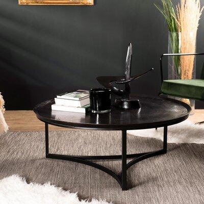 Table basse ronde 99x38 cm en aluminium noir - JOSY