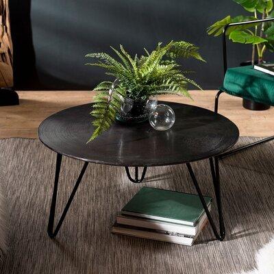 Table basse ronde 75x37 cm en aluminium noir - JOSY