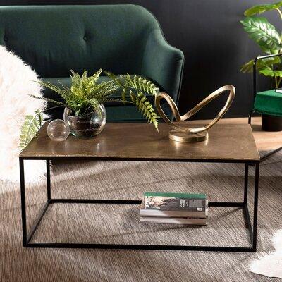 Table basse 56x99x42 cm en aluminium doré - JOSY