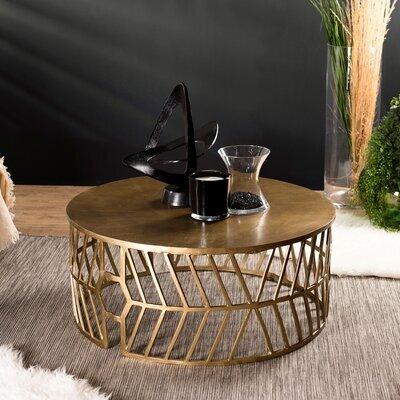 Table basse ronde 89x38 cm en aluminium doré - JOSY