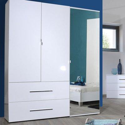 Armoire 3 portes et 2 tiroirs 162 cm blanche - DULTON