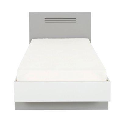 Lit 90x190 cm gris et blanc - HAMPTON