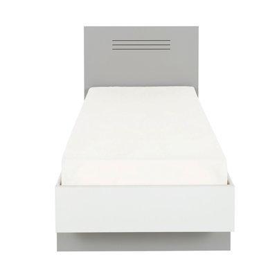 Lit 90x200 cm gris et blanc - HAMPTON