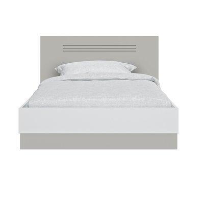 Lit 120x190 cm gris et blanc - HAMPTON