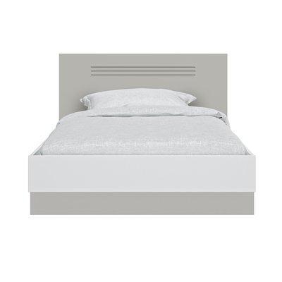 Lit 120x200 cm gris et blanc - HAMPTON