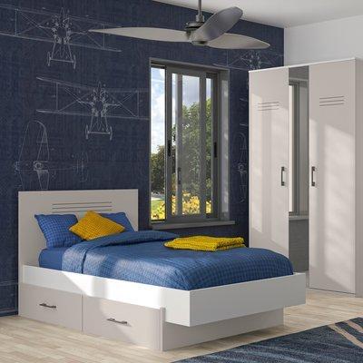 Lit 90x200 cm avec tiroir gris et blanc - HAMPTON