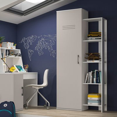 Colonne 1 porte avec 1 étagère 4 niveaux gris et blanc - HAMPTON