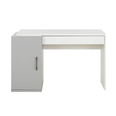 Bureau 1 porte et 1 tiroir gris et blanc - HAMPTON