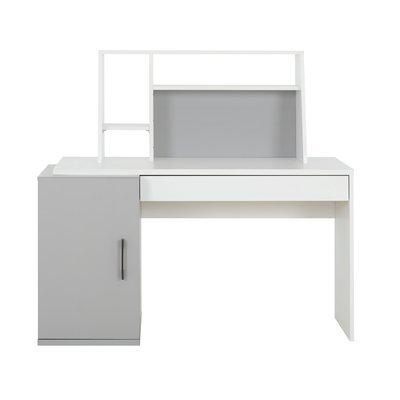 Bureau 1 porte et 1 tiroir avec surmeuble gris et blanc - HAMPTON