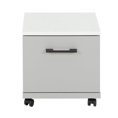 Caisson 1 tiroir à roulettes gris et blanc - HAMPTON