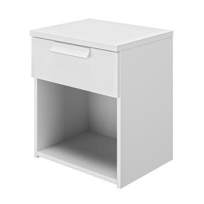 Chevet 1 tiroir 43 cm décor blanc - HEVA