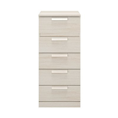 Chiffonnier 5 tiroirs 48 cm décor chêne blanchi - HEVA