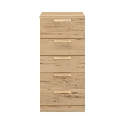 Chiffonnier 5 tiroirs 48 cm décor chêne - HEVA