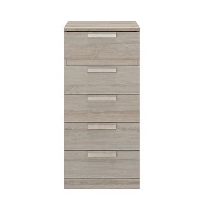 Chiffonnier 5 tiroirs 48 cm décor chêne grisé - HEVA