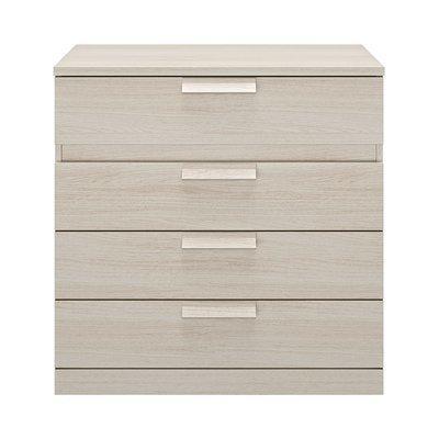 Commode 4 tiroirs 81 cm décor chêne blanchi - HEVA