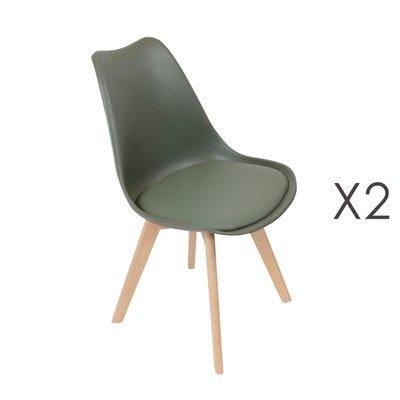 Lot de 2 chaises repas vertes et pieds naturel - LUCIE