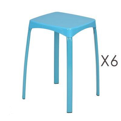 Lot de 6 tabourets 32x32x45,5 cm en métal bleu - ATHYS