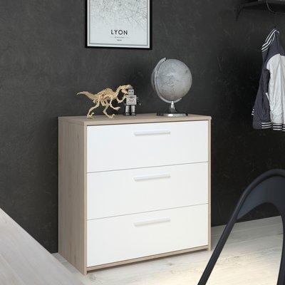Commode 3 tiroirs 80 cm blanc et chêne - DISCREE