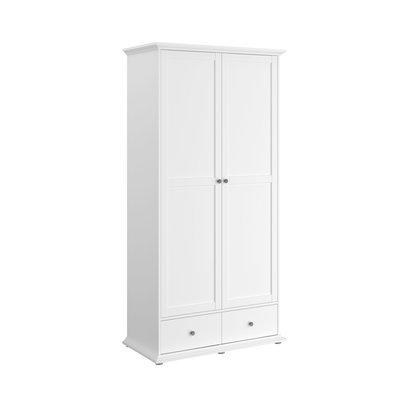 Armoire 2 portes et 2 tiroirs blanche - SHALLO