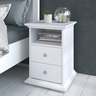 Chevet 2 tiroirs blanc - SHALLO