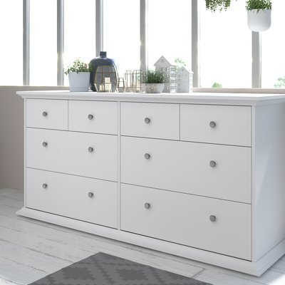 Commode 8 tiroirs 152 cm blanche - SHALLO