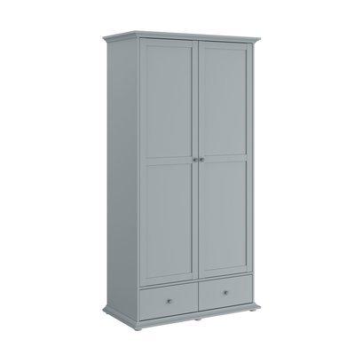 Armoire 2 portes et 2 tiroirs grise - SHALLO