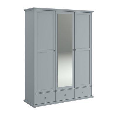 Armoire 3 portes et 3 tiroirs grise - SHALLO