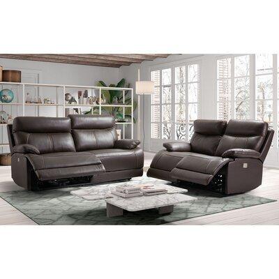 Ensemble de canapés de relaxation 3+2 places en cuir marron