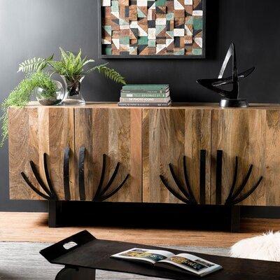 Buffet 2 portes en manguier avec décors et pieds en métal - MANGUY
