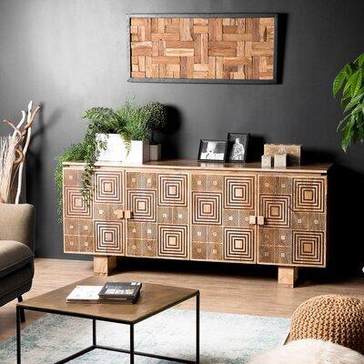 Buffet 4 portes en manguier avec décors géométriques - MANGUY