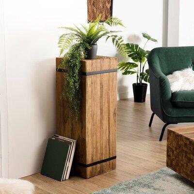Table d'appoint carrée 37x37x93 cm en teck recyclé et métal - TEAKY