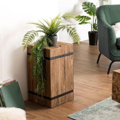 Table d'appoint carrée 38x38x63,5 cm en teck recyclé et métal - TEAKY