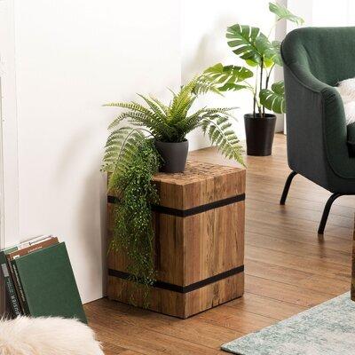 Table d'appoint carrée 37x37x49 cm en teck recyclé et métal - TEAKY