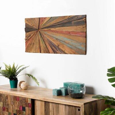 Tableau 100x45 cm en teck recyclé multicolore - TEAKY