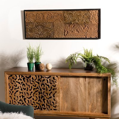 Tableau 123x43 cm en teck recyclé motif graphique - TEAKY