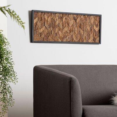 Tableau 100x40 cm en teck recyclé et cadre noir - TEAKY