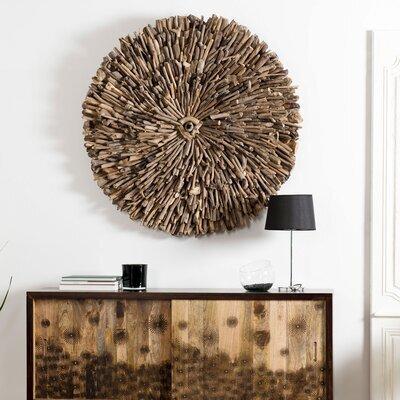 Tableau rond 120 cm en bois flotté naturel - CLARIA