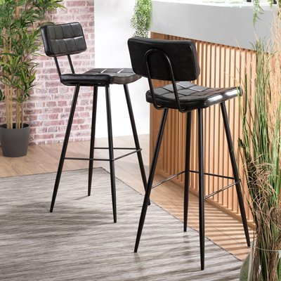 Lot de 2 chaises de bar en PU noir - GUSTAVE