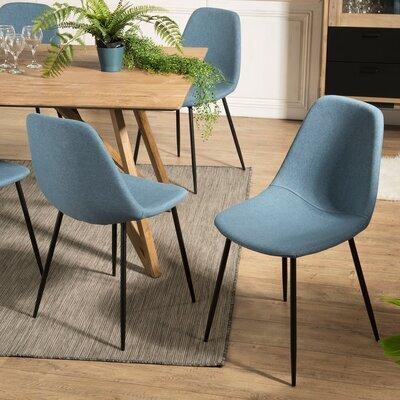 Lot de 2 chaises repas en tissu bleu - INDUSTRIO