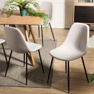 Lot de 2 chaises repas en tissu beige - INDUSTRIO