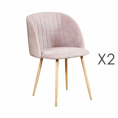 Lot de 2 chaises en tissu suédine taupe - LINEA
