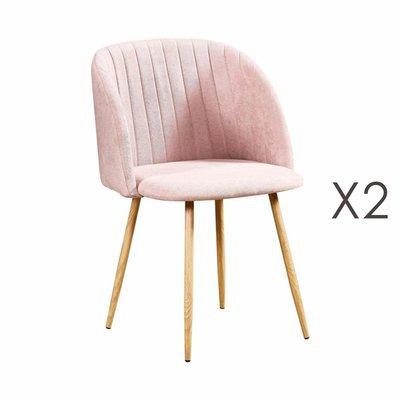Lot de 2 chaises en tissu suédine rose clair - LINEA