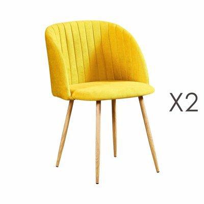 Lot de 2 chaises en tissu suédine jaune - LINEA