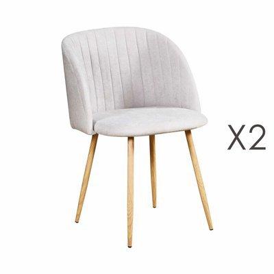 Lot de 2 chaises en tissu suédine gris clair - LINEA